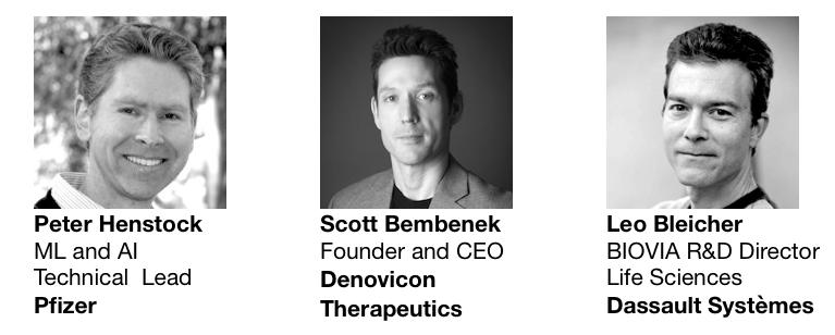 Peter Henstock at Pfizer, Scott Bembenek at Denovicon Therapeutics and Ton van Daelen of Dassault Systèmes